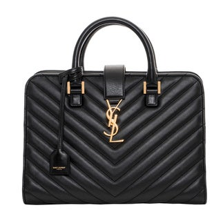 Saint Laurent Small Cabas Monogram Matelassé Leather Satchel