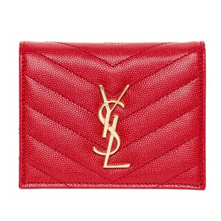 Saint Laurent Red Leather Monogrammed Compact Wallet