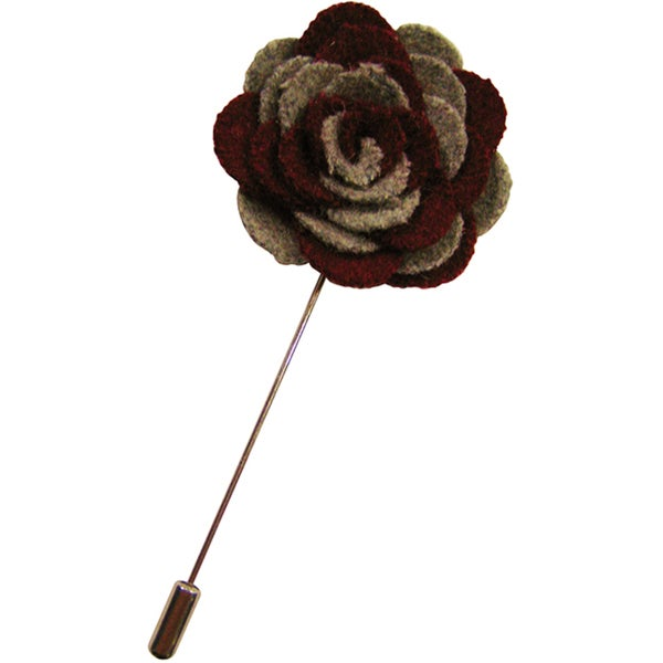 Dmitry Men's Burgundy and Grey Flower Lapel Pin