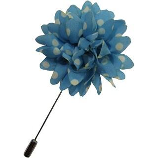 Dmitry Men's Light Blue Polka-dot Flower Lapel Pin
