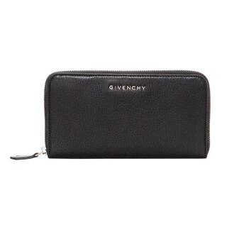 Givenchy Pandora Black Pebbled Leather Zip Around Wallet