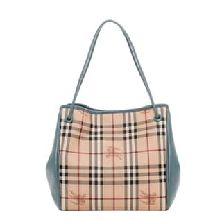 Burberry Small Haymarket Check and Steel Blue Tote