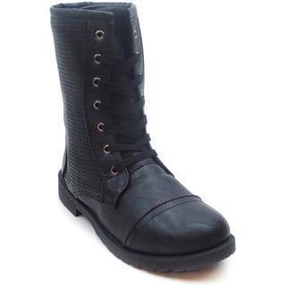 Blue Women's 'Millie Fame' Black Faux Suede Combat Boots