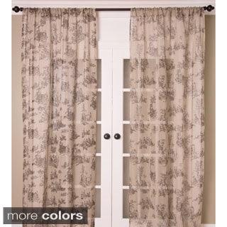 Toile Print Sheer Linen Curtain Panel