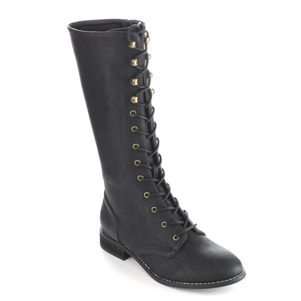 C-label Women's 'Alanis-10' Lace-up Mid-calf Riding Combat Boots