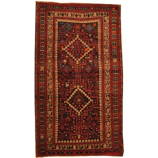 Herat Oriental Afghan Hand-knotted Semi-Antique Tribal Balouchi Brown/ Green Wool Rug (4'10 x 8'4)