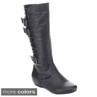Fashion Focus Women's 'Nancy-66' Buckled Knee-high Boots