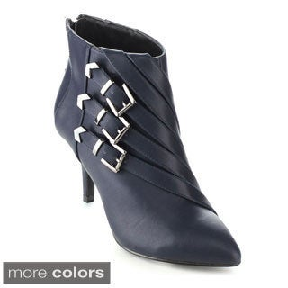 C-label Women's 'Natalie-5' Buckle Strap Stiletto Heel Ankle Booties