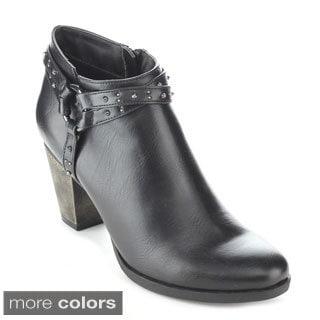 C-label Women's 'Sandra-13' Buckle Strap Ankle Booties