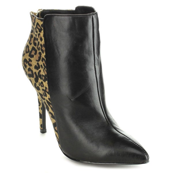 C-label Women's 'Cosmo-3A' Two-tone Leopard Stiletto Heel Ankle Booties