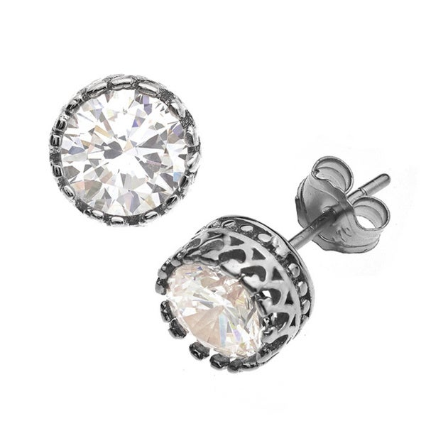 Gioelli Sterling Silver 6mm Round Crown Stud Earring