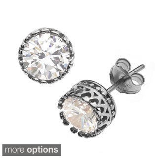 Gioelli Sterling Silver 5mm Round Crown Stud Earring