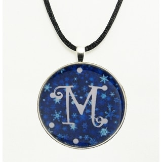 Wintry Blue and White Snowflake Monogram Pendant Necklace