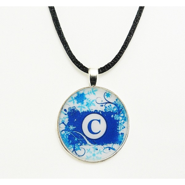 Turquoise Navy and White Snowflake Monogram Pendant Necklace