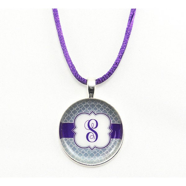 Be The Envy Purple Satin Cord Monogram Pendant Necklace