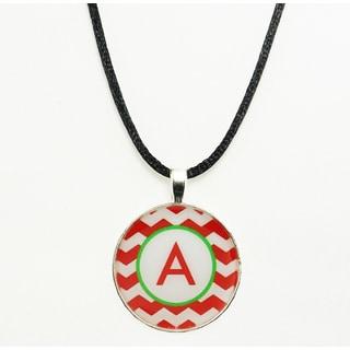 Red and White Chevron Monogram Pendant Necklace