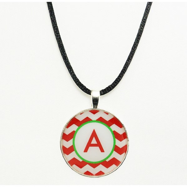 Red and White Chevron Monogram Pendant Necklace