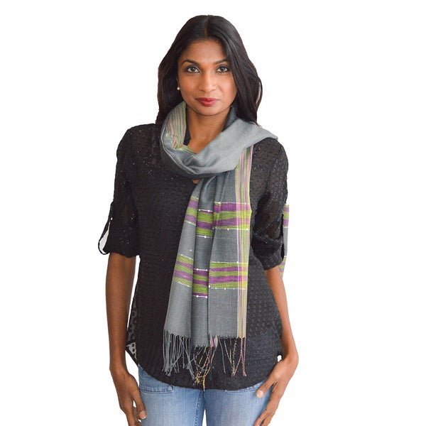 Indian Sequin-embossed Detail Scarf/ Wrap/ Shawl