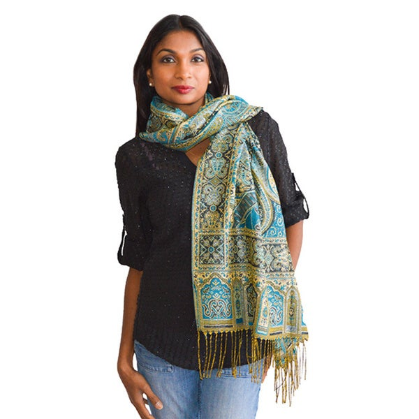 Large Paisley with Silver Thread Detail Scarf/ Wrap/ Shawl 14249414
