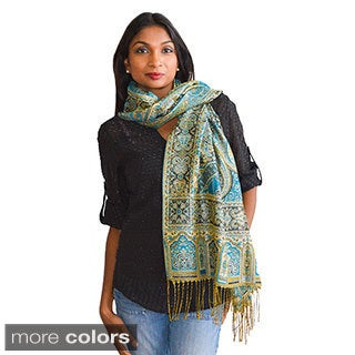 Large Paisley with Silver Thread Detail Scarf/ Wrap/ Shawl
