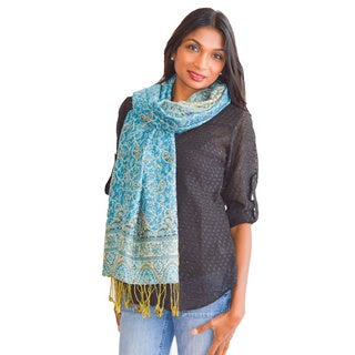 Mini Paisley Blue Scarf/ Wrap/ Shawl