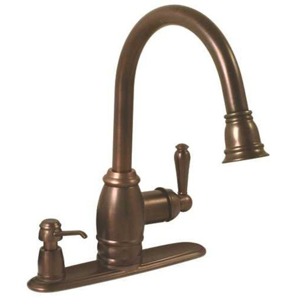 oil rubbed bronze center kitchen faucet with plastic sprayer