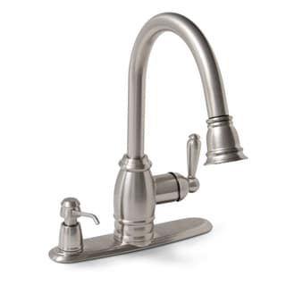 Premier Sonoma Single Handle Pull-Down Brushed Nickel Kitchen Faucet with Matching Soap Dispenser