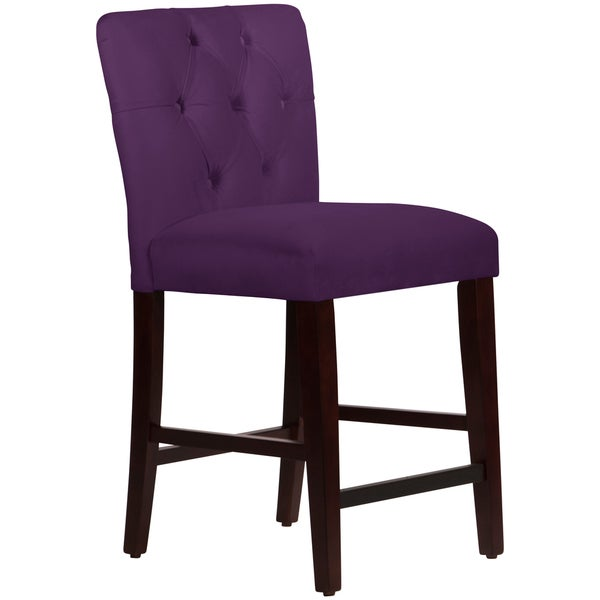 Made To Order Tufted Mor Counter Stool In Velvet Aubergine