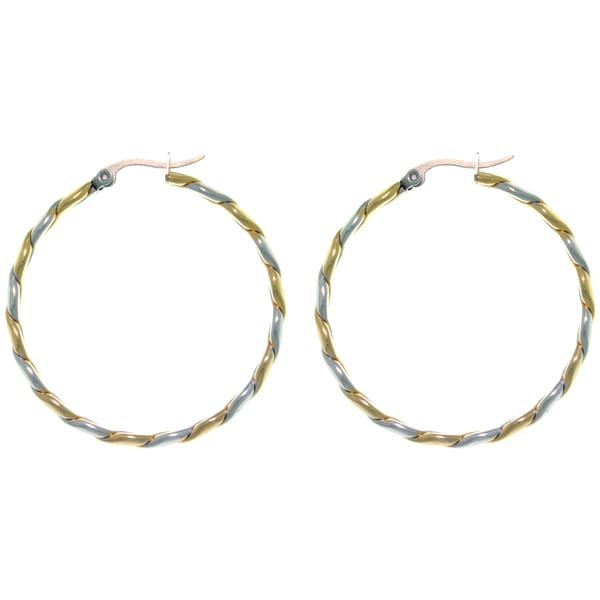 CGC Stainless Steel Two-tone Twist Large Hoop Latch Back Earrings