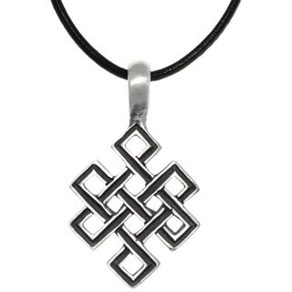 CGC Pewter Celtic Open Square Knot Pendant on Black Leather Necklace