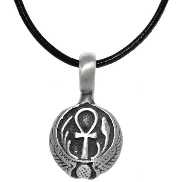 CGC Pewter Egyptian Ankh with Wings Long Life Pendant on Black Leather Necklace