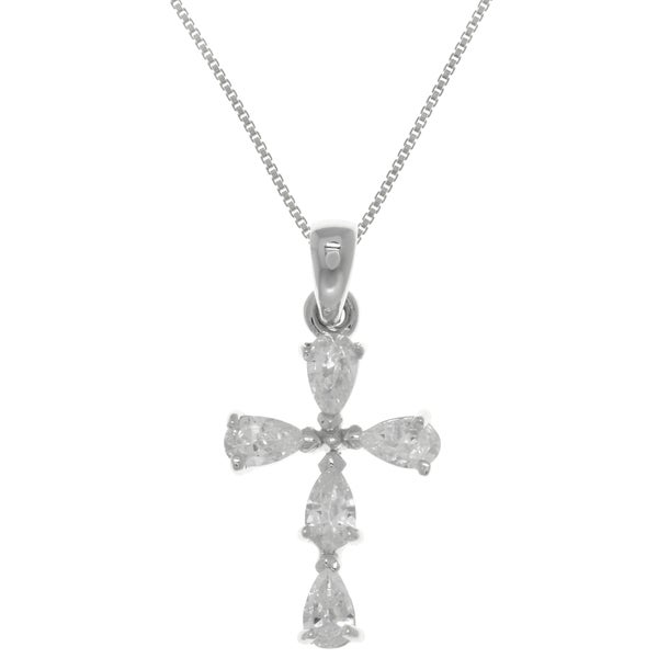 CGC Sterling Silver Cross Pendant with Sparkling Cubic Zirconia Crystals on Box Chain Necklace
