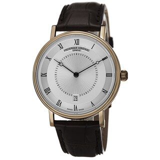 Frederique Constant Men's FC-306MC4S35 'Slim Line' Silver Dial Brown Leather Strap Watch