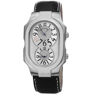 Philip Stein Men's 2-SIL-CSTB 'Signature' Silver Dial Black Leather Strap Dual Time Quartz Watch