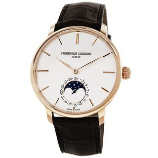 Frederique Constant Men's FC-705V4S9 'Slim Line' Silver Dial Brown Leather Strap Automatic Watch