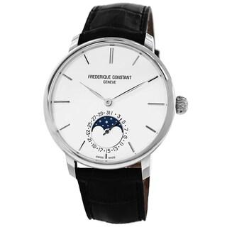 Frederique Constant Men's FC-705S4S6 'Slim Line' Silver Dial Moon Phase Black Strap Watch