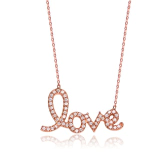 Collette Z Rose Goldplated Sterling Silver Cubic Zirconia 'LOVE' Necklace