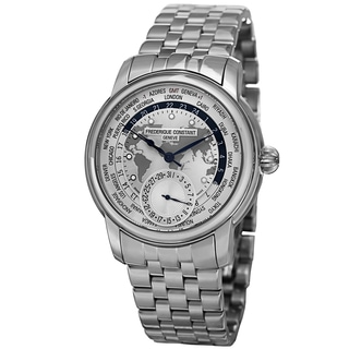 Frederique Constant Men's FC-718WM4H6B 'World timer' Silver Dial Stainless Steel Automatic Watch