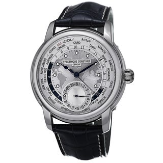 Frederique Constant Men's FC-718WM4H6 'World timer' Silver Dial Blue Leather Strap Automatic Watch
