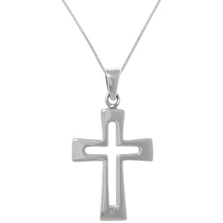 CGC Sterling Silver Cross Pendant with Open Design on Box Chain Necklace