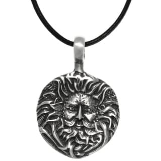 CGC Pewter Green Man Face Round Pendant on Black Leather Necklace