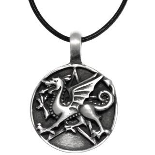 CGC Pewter Dragon Star Round Medallion Pendant on Black Leather Necklace