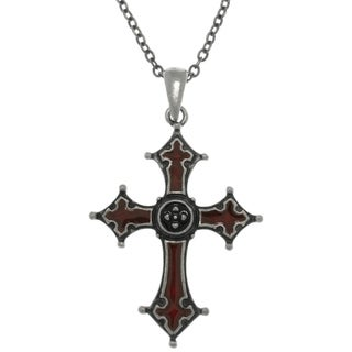 CGC Pewter Gothic Byzantine Cross Pendant with Red Enamel on Chain Necklace