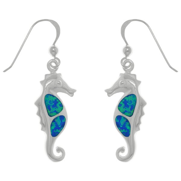CGC Sterling Silver Created Blue Opal Seahorse Dangle Earrings
