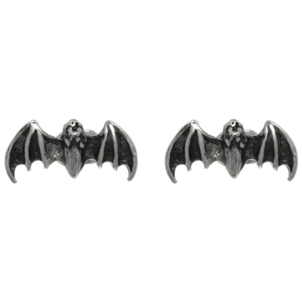 CGC Pewter Flying Bat Unisex Stud Post Earrings