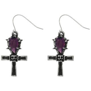 Carolina Glamour Collection Pewter Ankh Cross with Purple Crystal and Skull Dangle Earrings