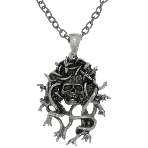 CGC Pewter Medusa Skull Protection Pendant on Chain Link Necklace