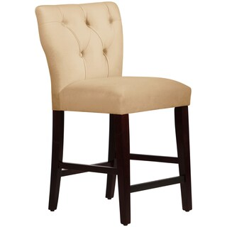 Made to Order Tufted Cream Hourglass Counter Stool