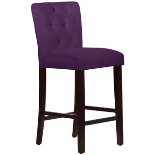 Made to Order Tufted Mor Barstool in Velvet Aubergine