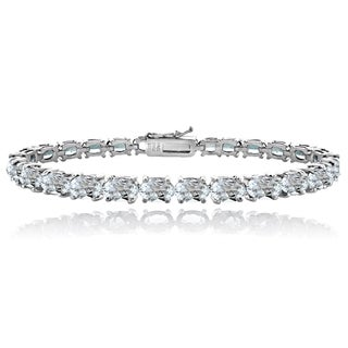 Glitzy Rocks Sterling Silver 13ct Aquamarine Oval Tennis Bracelet